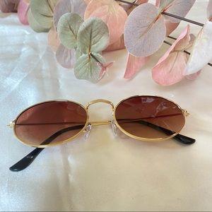 Women's Sunglasses Gold Frames Round Brown Lens